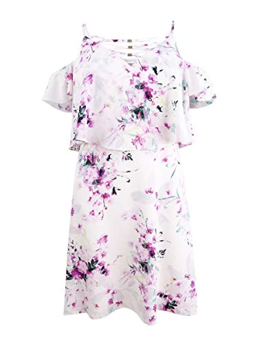 kensie Womens Cold Shoulder Floral Print Casual Dress White 14