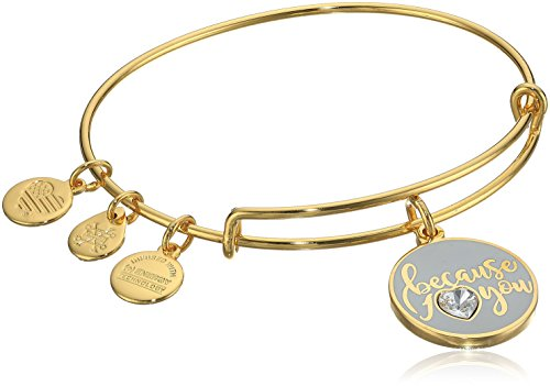 Alex and Ani Because I Love You Charmarmband, glänzender Goldton mit Swarovski Kristall