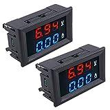 DC 0-100V 10A LED Amperímetro Voltímetro Digital, 2 en 1 Doble Color Rojo y Azul Pantalla Digital Medidor de Tensión Multímetro Corriente y Voltímetro Panel Meter