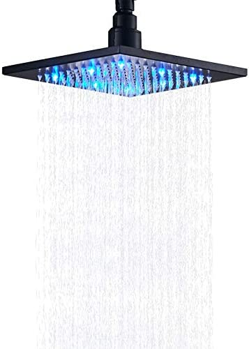 Senlesen Bathroom 8 inch Square Top Shower Head with LED Light Black Color product image