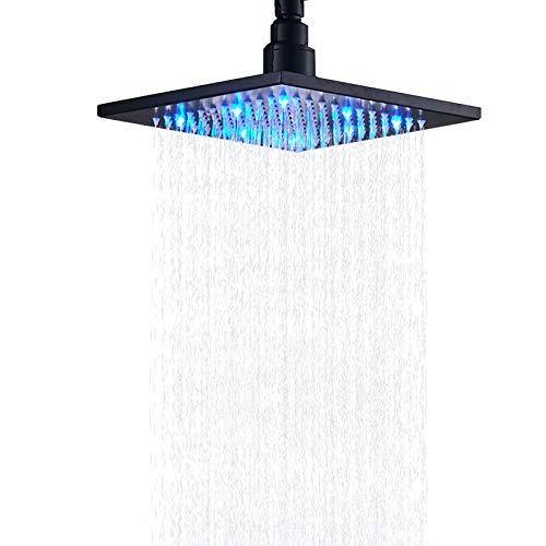 Senlesen Bathroom 8-inch Square Top Shower Head with LED Light Black Color