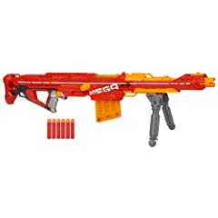 Mega-sized dart blasting: size up your Nerf battles with the Nerf Mega Centurion blaster that measures 40 inches (1 meter) long and includes a 6-dart clip and 6 Nerf Mega darts designed for power Comes with a folding bipod to stabilize shots: stabili...