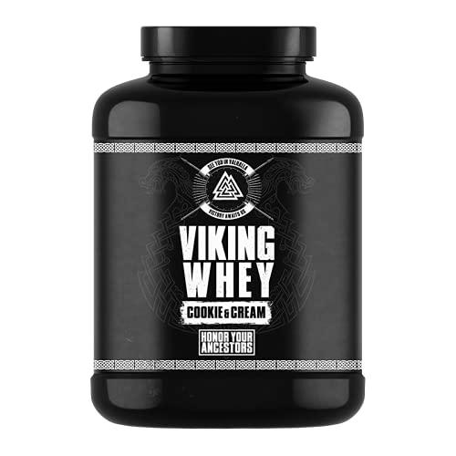 Gods Rage Viking Whey - Batido de proteínas para fitness y culturismo, incluye postales exclusivas, 1000 g (cocquies y cream)