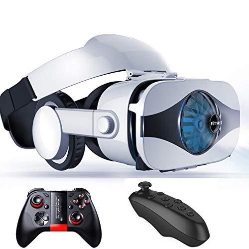 HMY VR 5F Auricular Versión Ventilador Realidad Virtual Glasses Vidrios 3D Glasses Deluxe Edición Deluxe Cascos Controlador Smartphone 4D Auriculares All-In-One AR