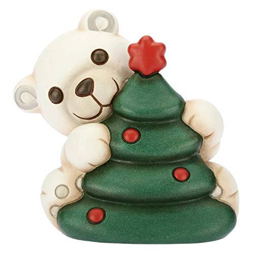THUN - Orso Polare con Albero di Natale - Formato Piccolo - Ceramica - 11,2x9,1x10,8 cm h