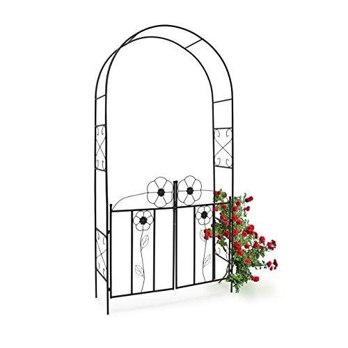 Relaxdays Arco de Metal para Rosas con Puerta 10010031-Arco, Negro, 36.5x116x228 cm