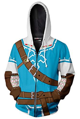 Hombre Coat The Legend of Zelda Sudadera Capucha Cremallera