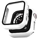 LϟK 2 Pack Funda Protector de Pantalla de Cristal Templado Incorporado para Apple Watch 40mm Series 6 5 4 SE - Estuche Protector General para PC Duro HD Ultra-Thin Carcasa para iWatch 40mm - Blanco