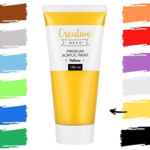 Creative Deco Pittura Acrilica | Colore Giallo | Tubo da 100ml | Perfetto per Principianti, Bambini, Studenti e Artisti Professionisti | Perfetto per Legno, Tela, Tessuto e Carta