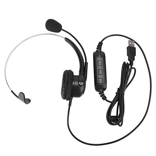 Xuzuyic Auriculares Auriculares monoaurales USB, fáciles de Usar, Plug and Play, Auriculares de Metal con micrófono y Control de Volumen, adecuados para Skype/QQ/MSN y Otro Software de Chat en línea