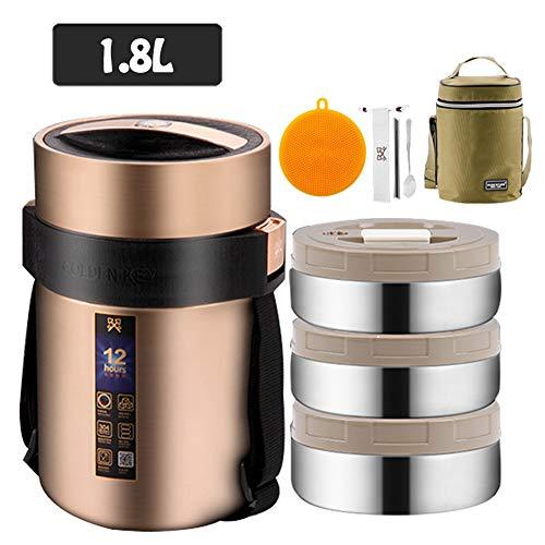 Récipient alimentaire isotherme, Porte-Aliments avec 3 Compartiments acier inoxydable, avec...