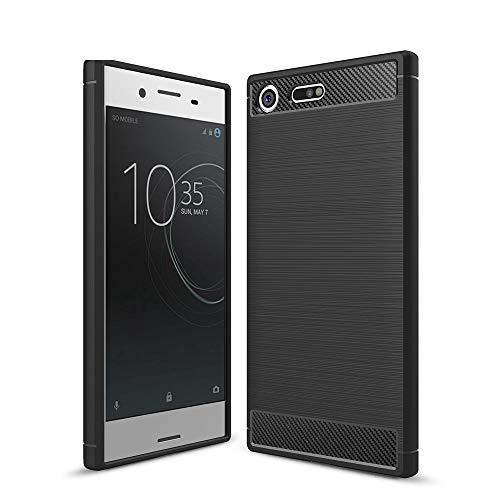 Capa premium para Sony Xperia XZ capa traseira de fibra de carbono ultrafina TPU para-choque preta