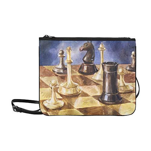 WYYWCY Schachbrett Mit Schachfiguren Auf Schwarzem Muster Benutzerdefinierte hochwertige Nylon Slim Clutch Bag Cross-Body Bag Umhängetasche