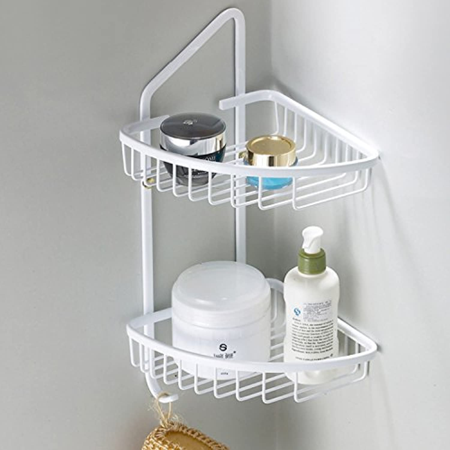 European retro copper white bathroom double glass shelf-@wei