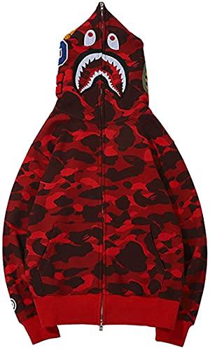 Xingge BAPE Shark Ape Bape Hoodie Camo Druck Pullover Lässig Lose Jacke für Männer Frauen Zip Up (Red-a,M)