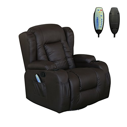 WestWood Bonded Leather Massage Cinema Recliner Sofa Chair Armchair Swivel Rocking With Heating Function Cup Holder MLS-02 Brown