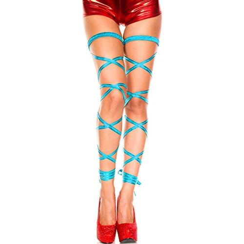 BOLAWOO-77 Halterlose Damen Leggings Mit Metallic Wickel Strumpfband Wetlook Chic Mode Marken Unique Pornografie Atmungsaktive (Color : Hell Blau, Size : One Size)