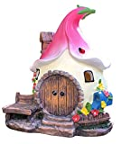 Solar Fairy Cute Garden House , Outdoor Gnome House Figurine with Solar Lights, Little Garden Cottage Figurines