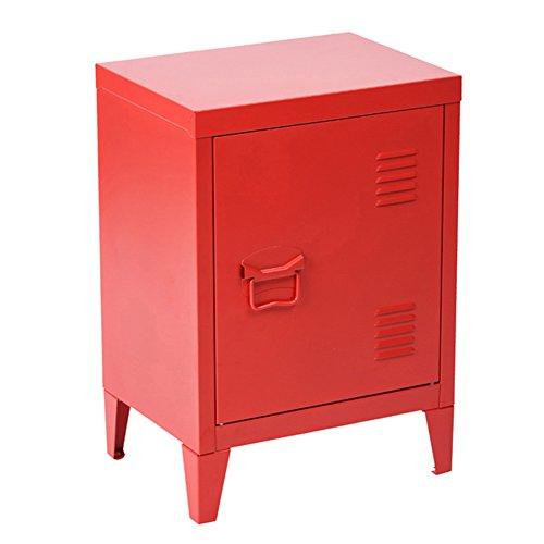 Bakaji Mobiletto Armadietto Comodino in Metallo 2 Ripiani con Anta Dimensione 57 x 40 x 30 cm Arredamento Casa Ufficio (Rosso)