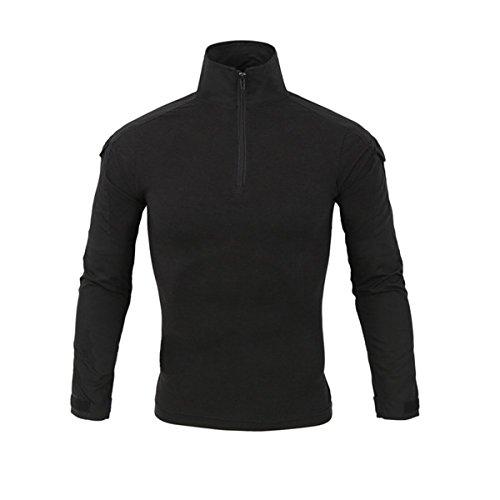 QCHENG Chemise de Combat Militaire Tactique Homme Tenue Airsoft Chasse Shirt Camouflage Multicam Uniforme à Manches Longues Noir x-Large=Tag XXL