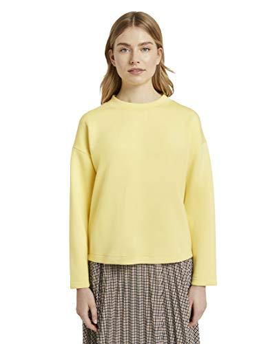 TOM TAILOR Damen Strick & Sweatshirts Sweatshirt mit Tape-Einsatz Honey Popcorn,M,22234,3000