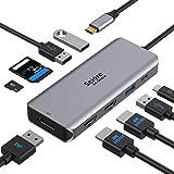 Docking Station, USB C Dual HDMI Adapter, USB C to HDMI DisplayPort USB C Hub Laptop Docking Station Dual Monitor Multiport Adapter with 2 HDMI/DisplayPort PD USB 3.0/2.0 SD/TF Card for Lenovo, Dell