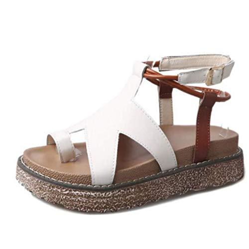 Sandalias De Plataforma para Mujer Hebilla Correa De Tobillo Cuero De PU Casual Confort Sandalias De Gladiador Planas Adecuado para Damas Cómodas E Informales