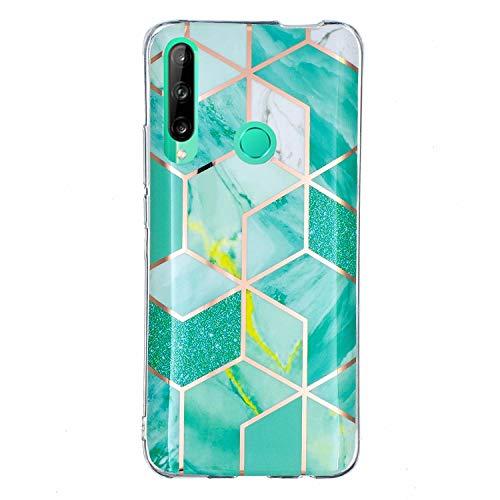 Miagon Marmor Hülle für Huawei Y7P/P40 Lite E,Dünn Weich Silikon Flexible Handyhülle Schutzhülle Galvanisiert Marble Bumper Handytasche Zurück Cover Gummi,Grün