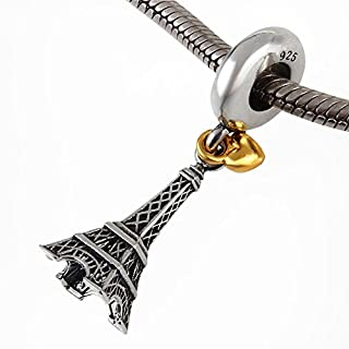 The Paris Eiffel Tower Charm with Golden Heart 925 Sterling Silver Dangle Beads fit for Fashion Charms Bracelet & Necklace