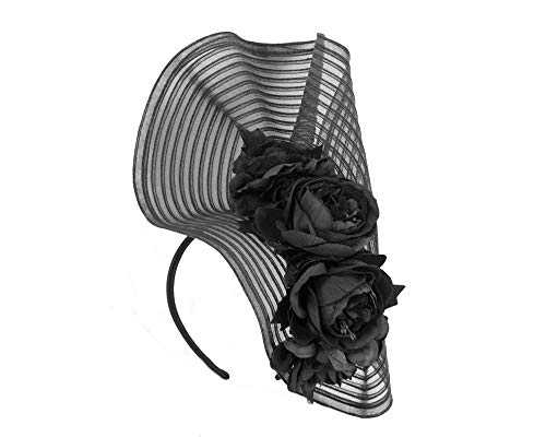 Fillies Collection Large Black Racing Fascinator with Flowers by