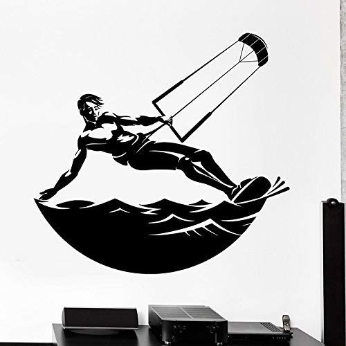 Surf Boy Etiqueta De La Pared Windsurf Deportes Acuáticos Puerta Ventana Vinilo Pegatina Dormitorio Adolescente Baño Dormitorio Decoración Para El Hogar Wallpaper 42X44Cm