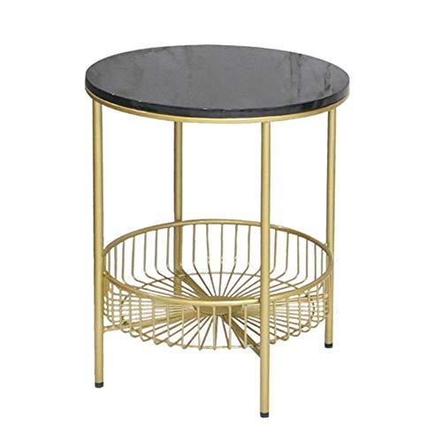 Home & Selected Furniture Moderne, ronde bijzettafel van marmer met opbergruimte voor woonkamer, slaapkamer, goud, kunst, telefoontafel, lichttafel, 17,7 cm, 21,6 cm