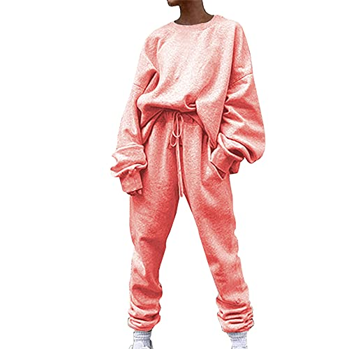 Chándal Casual para Mujer Sudadera de 2 Piezas Top Manga Larga + Pantalones Traje Deportivo de Color sólido Monos de Manga Larga Casual Mamelucos sólidos Pantalones con Bolsillos Chándal de 2 Piezas