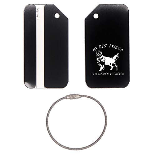 Golden Retriever Best Friend Stainless Steel - Engraved Luggage Tag - Set Of 2 (Jet Black) - For Any Type Of Luggage, Suitcases, Gym Bags, Briefcases, Golf Bags