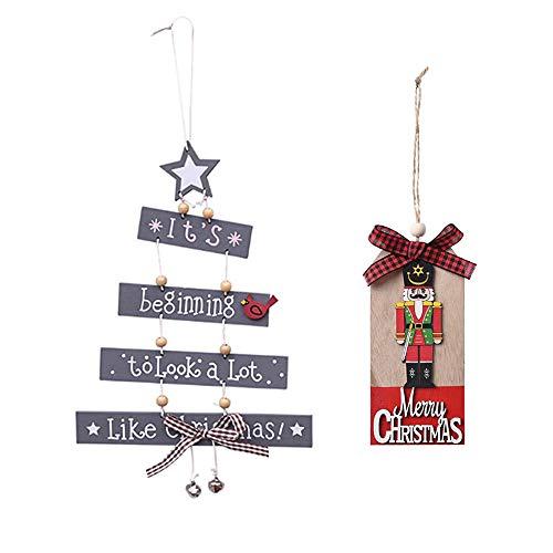 Lifreer Decoraciones navideñas, 2 colgantes de árbol de Navidad creativos de madera para manualidades, ventana, puerta, cocina, vestido, tarjeta de madera, cascanueces