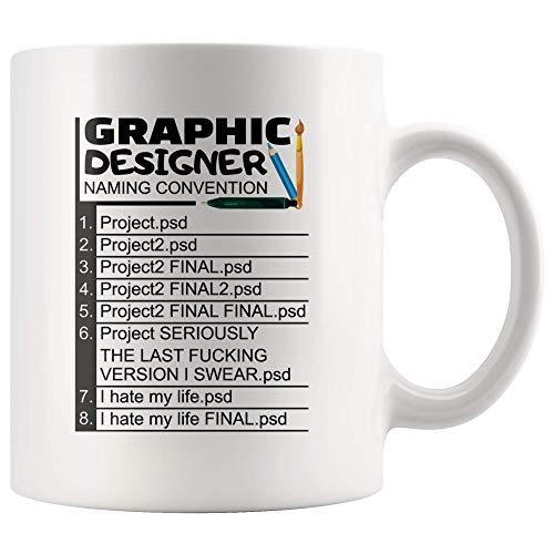 Graphic Designer Naming Convention Coffee Mug 11 Oz Ceramic Cup Final psd Hate My Life Funny Birthday Designer Gift Graphic Mugs