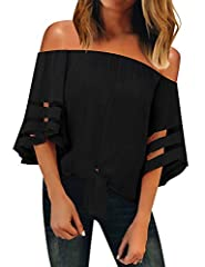 Exude timeless romance and femininity in this fashion sexy off the shoulder tops. Loose silhouette with soft material. 3/4 flared bell sleeve with mesh panel design, maximizes your charming inadvertently. Cute tie knot off shoulder tops for women. Wo...