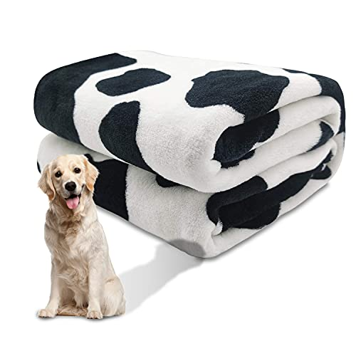 1 Pack 3 Dog Puppy Blanket Large Fluffy Couch Pet Cat Soft Throw Pet Washable Comfort Blankets Flannel Black White Cow Print