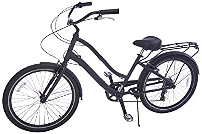 """sixthreezero EVRYjourney Men's 26"""" 7-Speed Sport Hybrid Cruiser Bike w/Integrated Cable Lock, 26"""" Bicycle, Matte Black with Black Seat and Black Grips"""