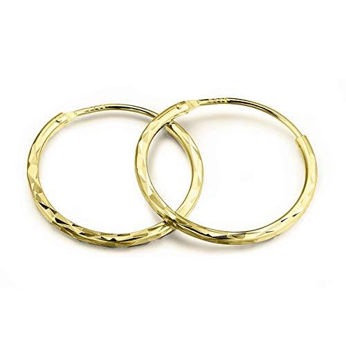 Halo's London (c) 9ct Gold 12mm - 20mm Diamond Cut Hinged Sleeper Hoop Earrings (24mm)
