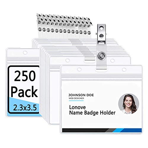 Horizontal Badge Holder and Metal Clip with Vinyl Straps Clear Plastic Name Tag Holders Waterproof PVC ID Cards by LONOVE (250 Pack, Horizontal 2.3x3.5)