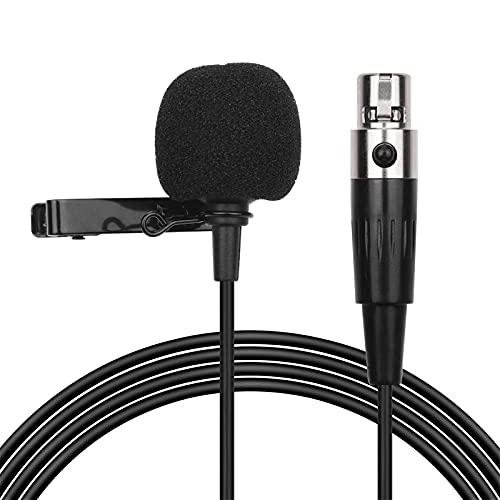 Feixunfan Micrófono de Solapa Micrófono Lavalier Clip-on Mic Mic 6M / 20FT Cable Largo con Adaptador XLR Llevar Bolsa para Grabar Entrevista (Color : Black, Size : One Size)