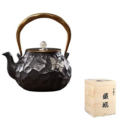 Teiera in Ghisa con Infusore, Hwagui-teiera in Ghisa,Teiera in Ghisa Nera Brown 1.2l, Utilizzato per Bustine di tè E tè Sfusi, tè Bianco,tè alla Frutta in Legno,tè Nero,tè Nero