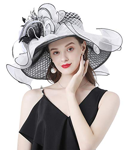 Z&X Organza Fascinator Kentucky Derby Hats for Women Wide Brim Sun Hat Church Wedding Tea Party Hat with Clip Black and White