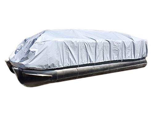 Transhield Pontoon Storage Boat Cover | Heavy Duty, Waterproof, Reusable | Perimeter Rope and Straps Included | Fits 18 ft, 19 ft, 20 ft, 21 ft, 22 ft, 23 ft, 24 ft, 25 ft, 26 ft (22 ft)