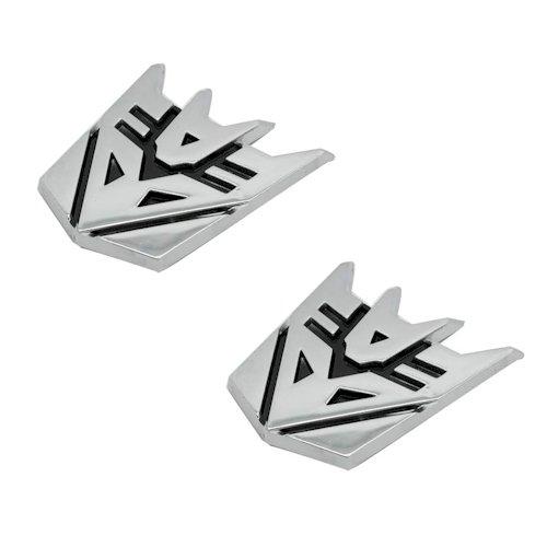 "The Masonic Exchange Decepticon Pair Chrome Finish PVC Car Auto Emblems - 1"" Tall"