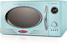 Nostalgia RMO4AQ Retro Large 0.9 Cu Ft, 800-Watt Countertop Microwave Oven 12 Pre-Programmed Cookin, Digital Clock, Easy Clean Interior, Aqua