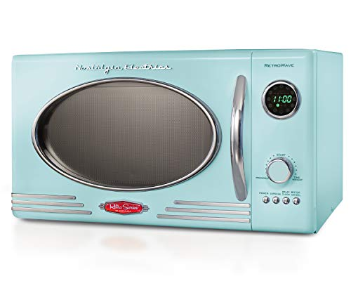 Nostalgia RMO4AQ Retro Large 0.9 Cu Ft, 800-Watt Countertop Microwave Oven 12 Pre-Programmed Cookin, Digital Clock, Easy Clean Interior, Aqua