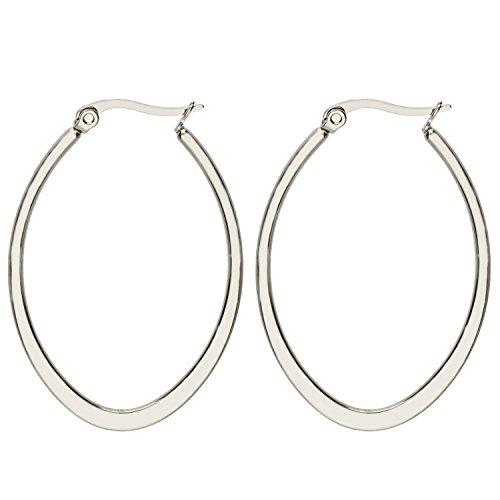 MYA art Damen Creolen Ovale Ringe hängend mit Stecker Edelstahl Silber Große Ohrringe Oval Groß Flach 3cm MYAWGOHR-79