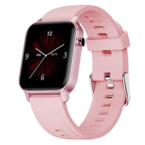 LTLGHY Smartwatch, Reloj Inteligente Impermeable IP68 para Hombre Mujer Pulsera De Actividad Inteligente con 15 Modos De Deporte con Pulsómetro Blood Pressure Sueño Podómetro,Rosado